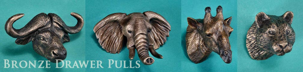 bronze animal drawer pulls with exotic animals