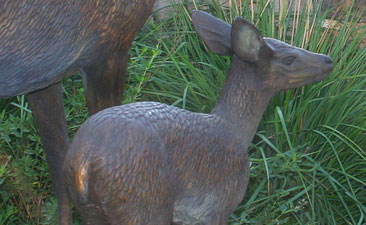 Close Up of Full Scale Bronze Garden Sculpture of Girl, Doe and Fawn