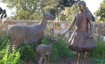 Full Scale Bronze Garden Sculpture of Girl, Doe and Fawn