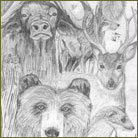Big Game Animal Collage Wildlife Drawing For Sale